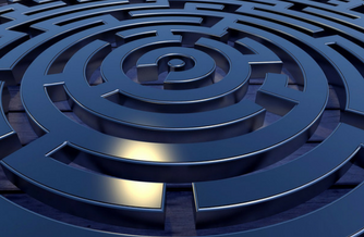 Blue circular maze representing how messaging fits into the call center